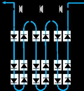 同じダイオードであるバイパスダイオードと太陽電池の向きの組み合わせ